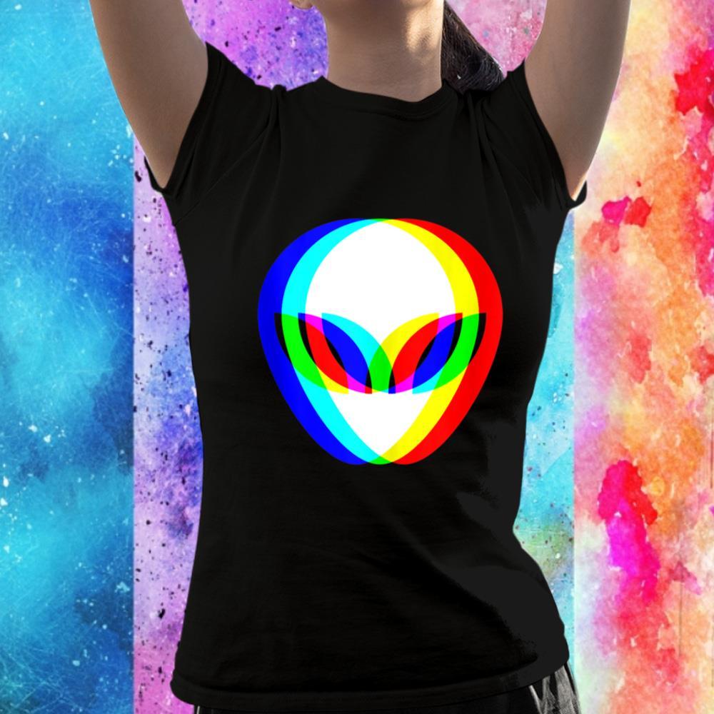 Alien Head Trippy Vaporwave Techno Rave EDM Music Festival Unisex T-Shirt