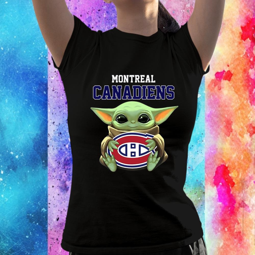 Baby Yoda Hugs The Montreal Canadiens Ice Hockey Unisex T-Shirt